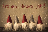 Gnomes, Snowflakes, Frohes Neues Jarh Means Happy New Year