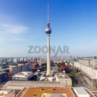 Berlin Skyline Fernsehturm Alexanderplatz Deutschland Quadrat Stadt Straße