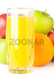 fruits with juice isolated on white