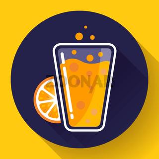 Flat ice tea drink icon. Orange juice glass