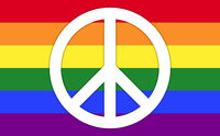 LGBT Rainbow Flag With Peace Symbol