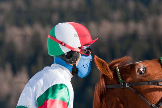 Jockey with wild horse