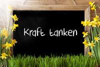 Sunny Spring Narcissus, Chalkboard, Kraft Tanken Means Relax