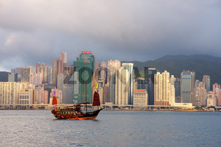 Junk ship and Hong Kong Island