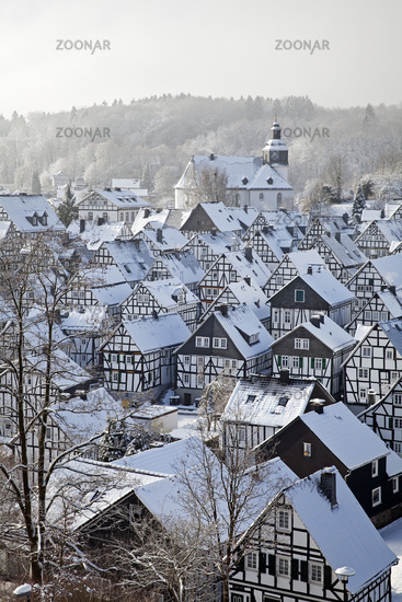Alter Flecken, the historical old town in winter, Freudenberg, Siegerland, Germany