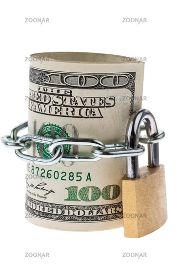 Dollar banknotes are locked with a lock
