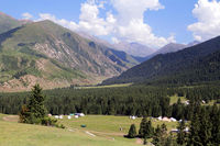 Yurt camp in Dzhety Oguz valley near Karakol, Terskej Alatoo Mountains, Kyrgyzstan