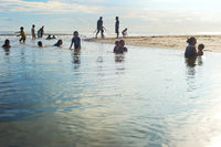 Bali locals swimming in river