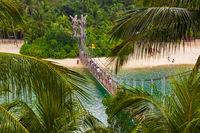 Hanging bridge to Palawan island in Sentosa Singapore