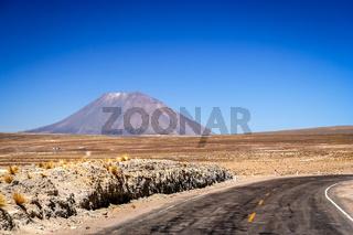 Road towards volcano