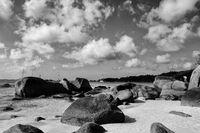 Seychelles island Praslin with granite rocks