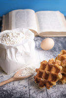 Bag of wheat flour and waffles