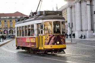 Yellow tram in Lisbon (Portugal)