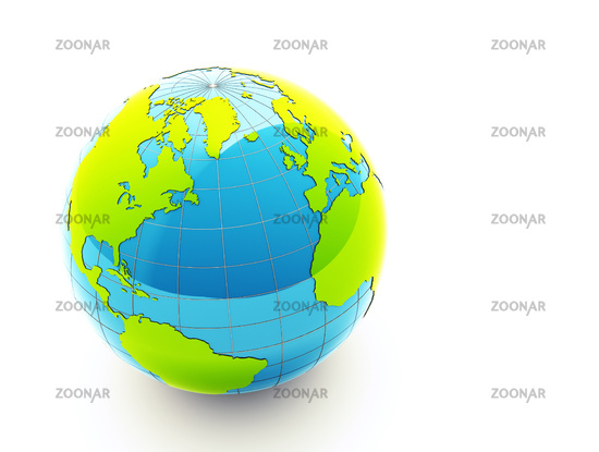 green 3d earth on white background - ecology concept