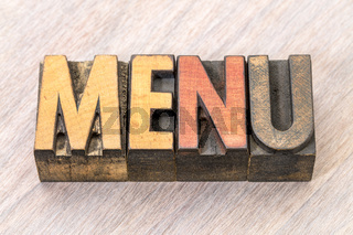menu word abstract in wood type