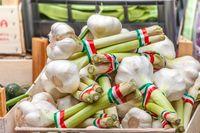 Italian garlic on the market