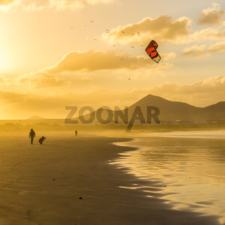 Famara beach at sunset, Lanzarote, Canary Islands, Spain