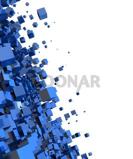 3D - Hintergrund - Fliegende Würfel Blau 07