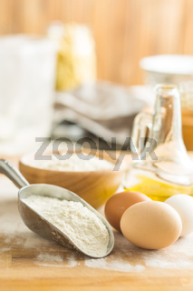 White flour and eggs.