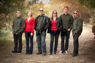 Attractive Family Portrait Walking Outdoors