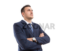 Visionary banker broker or financial manager look up to the future