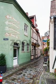 old houses on narrow alley in Schnoor in Bremen