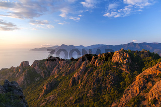 Les Calanche de Piana bei Sonnenuntergang, Korsika, Frankreich