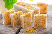 homemade calendula natural herbal soap