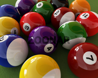 Group of billiard balls with numbers, on green carpet table. Close up view.