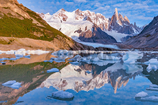 Amazing sunrise view of Cerro Torre mountain.