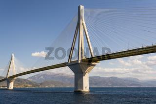 Cable-stayed suspension bridge crossing Corinth Gulf strait, Greece
