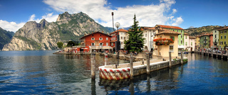 Picturesque italian village town on lakefront of Lake Garda.
