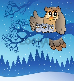 Owl family in winter - color illustration.