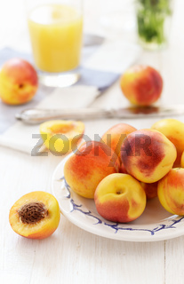 Still life with fresh ripe nectarine fruits