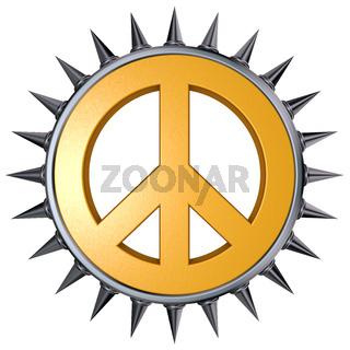 peace-symbol mit stacheln auf weißem hintergrund - 3d rendering