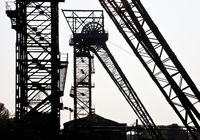 the two headframes of the colliery Auguste Victoria shaft 1/2, Marl, Ruhr Area, Germany, Europe