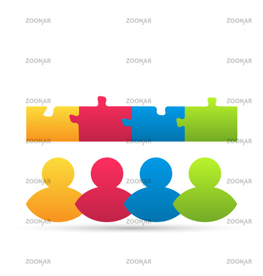 Icon team of business people with jigsaw puzzle pieces as a solution to a problem
