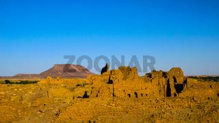 Ruined fortress at the Sai island, Nile, Sudan