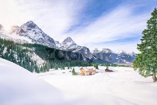 Alpine village in winter decor