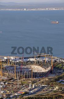 Blick vom Signal Hill auf die Baustelle des African Renaissance Stadion
