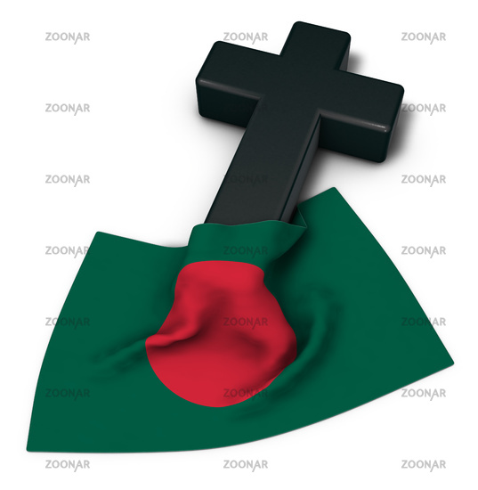 christian cross and flag of bangladesh - 3d rendering
