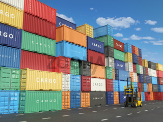 Cargo containers in shipping yard and forklift. Delivery shipping logistic import export industrial concept.