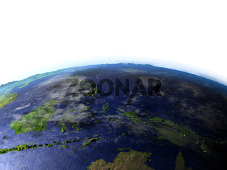 Papua on realistic model of Earth