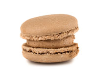 Single brown french macaroon cookie