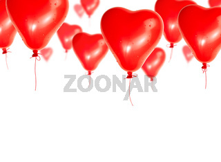 Set of red balloons in the shape of a heart flies skyward on a white background