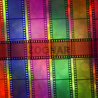 Digital film on the multicolored background with blur bokeh
