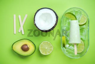 Avocado,coconut and lime popsicles