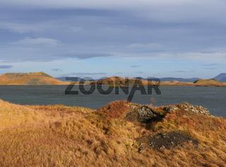 Herbstlandschaft an den Pseudokratern am Myvatn in Island