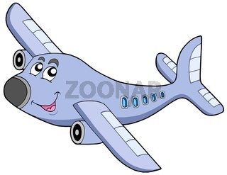 Cartoon airplane on white backgroud - isolated illustration.