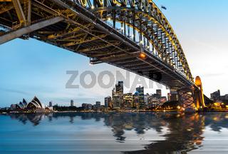 Dramatic panoramic sunset photo Sydney harbor
